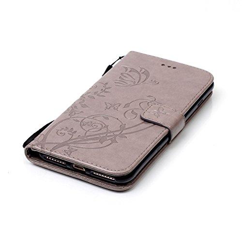 Stand Hülle für iPhone 7 Plus,Wallet Hülle für iPhone 7 Plus,Flip Hülle für iPhone 7 Plus Lederhülle Handyhülle TPU Tasche Case,EMAXELERS Cool Reifen Muster iPhone 7 Plus 5.5 inch Hülle stoßfest Schwe D Butterfly 6
