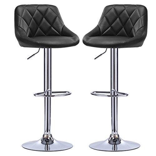 Eugad sgabelli da bar, sgabello con schienale poggiapiedi senza braccioli, sedia alta cucina, acciaio cromato ecopelle 2 pezzi nero