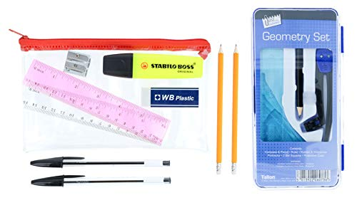 Storm & faro pre school pencil case & 8pc geometry maths set/gcse exam cancelleria/school essentials