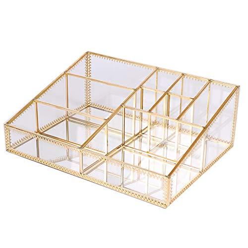 Happa Glas Schmuckschatulle Kosmetische Aufbewahrungsbox Schminktisch Desktop Hautpflegeprodukte Lippenstift Aufbewahrungsbox Finishing Rack -