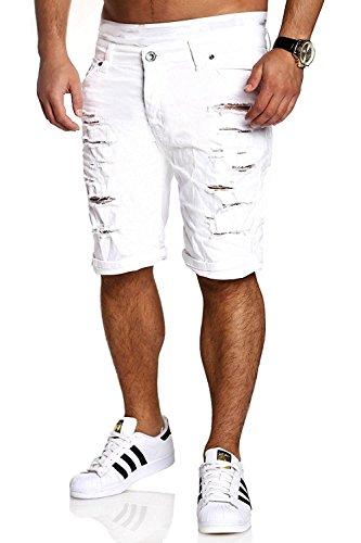 Minetom elasticizzati da uomo strappati jeans spiaggia pantaloni corti bermuda pantaloncini sguardo distrutto patchato stile bianco eu xl