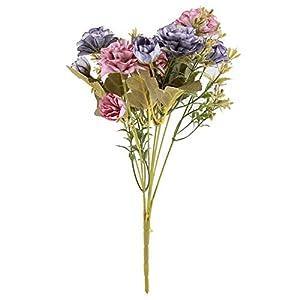 7°MR Ramo Flores Artificiales Falsas Rose Camellia Bouquet Bundle Plantas al Aire Libre Home Garden Decor Decorations