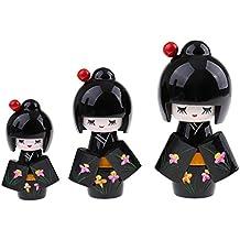Sharplace 3 Pezzi Kokeshi Kimono Bambola Di Legno 8,5 cm 11cm 13,5 cm Ornamento Casa - Nero # 1