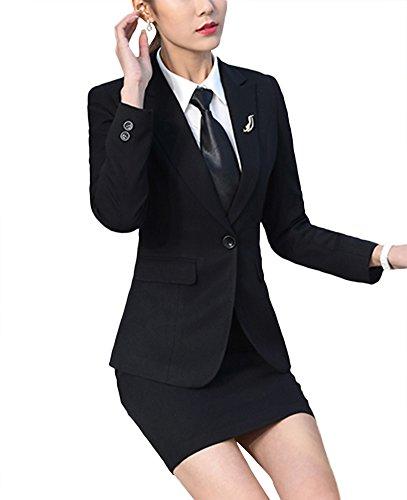 SK Studio Femmes Blazer Tailleurs Pantalons De Bureau 2 Pièces Revers Casual Costume Manteau Noir Blazer + Jupe +Krawatte