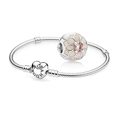 Original-Pandora-Geschenkset-1-Silber-Armband-mit-Herz-Schliee-590719-und-1-Silber-Clip-Blhende-Dahlie-791828NBP