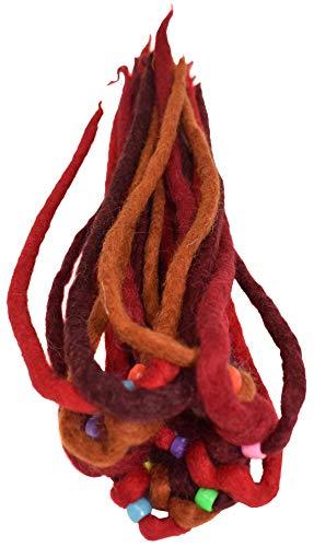Gheri Damen Fühlte Dreadlock Bohemien Hippie Bunt Haarband Elastisch Haargummi Rote Mischung