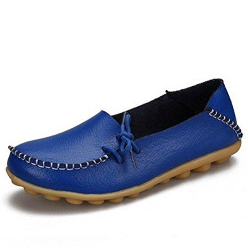 Miagolio Donna Scarpe Stringate Basse Mocassino Flats In Pelle Morbide Casuale Di Vari Colori Tglia 34-43 Blu marino