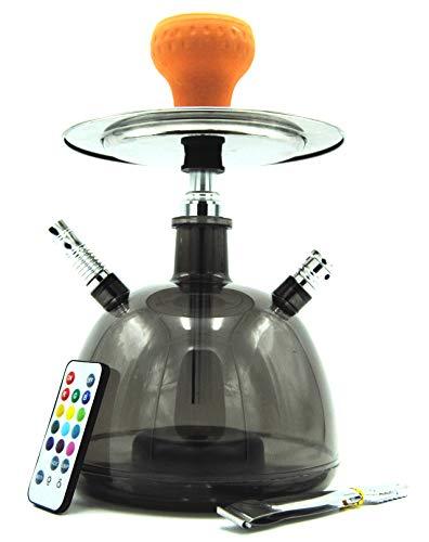 Cachimba Shisha LED Pipa de Agua 28 CM Pack Hookah Electronica de Tabaco Narguile (Negra)