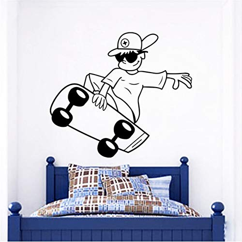 Hlfymx Skateboard Boy Calcomanías De Pared Para Niños Dormitorio Decoración Deporte Hip-Hop Art Stickers Casa Decoración Extraíble Etiqueta De La Pared Mural   42 * 48 Cm
