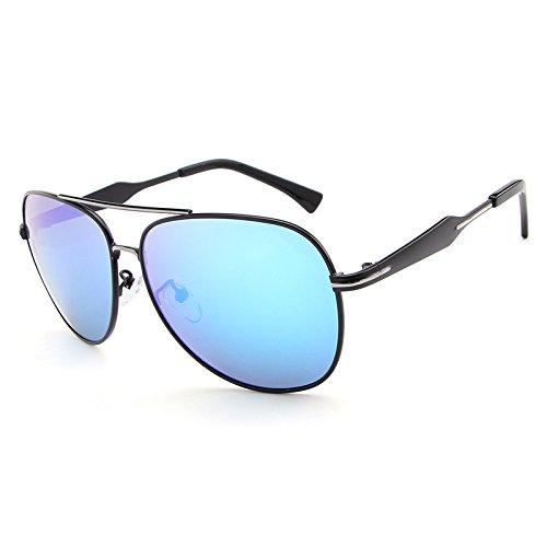 Yiph-Sunglass Sonnenbrillen Mode Beste Männer Polarisierte Sonnenbrille Bunte Linse Coole Brillen Retro Oculos De Sol Mit Fall (Color : Blue)
