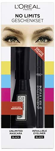 L'Oréal Paris Geschenkset: Unlimited Mascara und gratis Infaillible Eyeliner, 3er Pack (3 x 20 ml)
