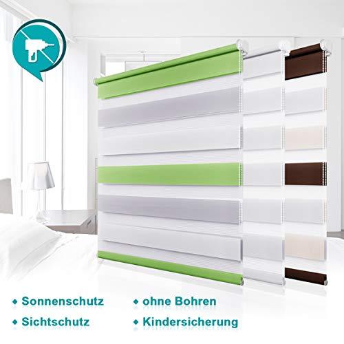 Homland Doppelrollo Klemmfix Duo Rollo ohne Bohren Easyfix Seitenzugrollo 105x150cm (BxH) Grün-Grau-Weiß lichtdurchlässig und verdunkelung Wand- und Deckenmontage für Fenster & Türen