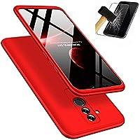 Huawei Mate 20 Lite Hülle + Panzerglas, LaiXin 360 Grad Handyhülle Ultra Dünn PC Plastik Anti-Kratzen Schutzhülle Schutz Case mit Displayschutzfolie für Huawei Mate 20 Lite - Rot