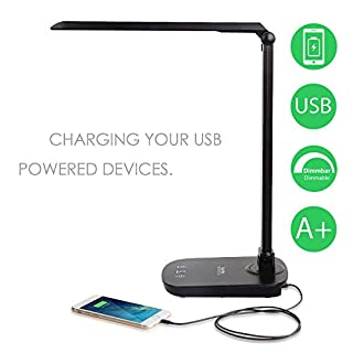 Albrillo Desk Lamp, 42 LEDs, 8 W, 4500 K Adjustable Table Lamp with Touch Switch, USB Charging Port and Swivel Function, Black
