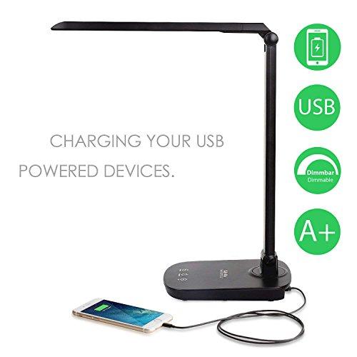 Albrillo LED Schreibtischlampe 8W mit USB-Anschluss zum Aufladen von Smartphone, Tischleuchte LED Stufenlos Dimmbar, Schreibtischleuchte mit Touch Control, Schwarz