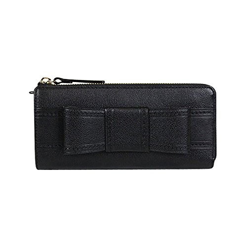 Kate Spade Alice Court Nisha Bow Zip Around Wallet Black (Kate Wallet Bow Spade)