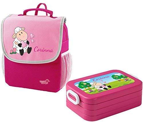Mein Zwergenland Set 1 Kindergartenrucksack und Brotdose Maxi Happy Knirps Next Print mit Name Schaf, 2-teilig, Pink