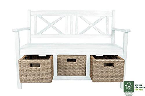 SAM Gartenbank Flora aus Akazie, weiß lackiert, inklusive 3 x Polyrattan-Korb, Garten-Möbel aus Holz, 121 x 60 cm, FSC 100% zertifiziert, massive Holzbank, pflegeleichtes Unikat