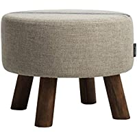 Preisvergleich für YYdy-Polsterhocker Mehrzweck Kleine Hocker für Wohnzimmer Leinen Tuch Massivholz Hocker Bein Einfache Mode Stil Durchmesser 45 cm (18 in), höhe 35 cm (14 in) (Farbe : B)