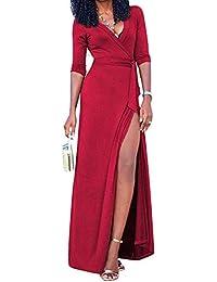 Damen Elegant Kleider T-Shirt Kleid Langarmkleid Strandkleid Lose Einfache  Einfarbig Maxi Kleidet Beiläufige Lange 4b03e9f270