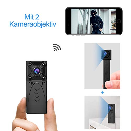 KEAN Mini Kamera WLAN Wireless überwachungskamera WiFi HD 1080P Tragbare Mikro Nanny cam für Sicherheit zu Hause Kleine Knopfkamera Innen Aussen Mit/Der Nachtsicht/Bewegungserkennung - 2 Lens Kamera - Zu Mit Hause App Sicherheit
