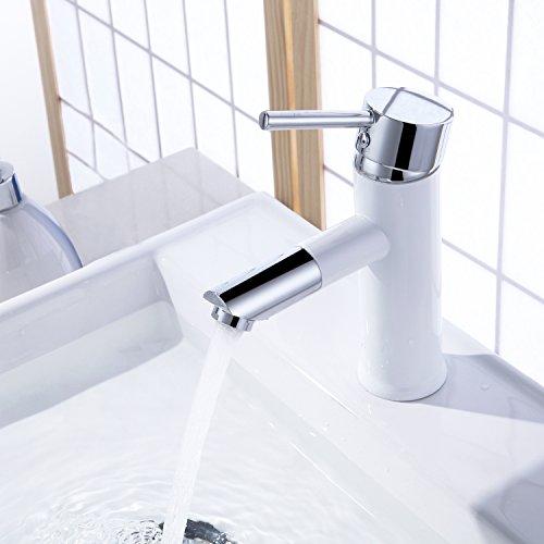 Homelody Wasserhahn bad 360° drehbar Auslauf Waschbeckenarmatur mit Lack beschichtet Armatur Waschtischarmatur Badarmatur Einhebelmischer für Waschbecken Waschtisch Bad