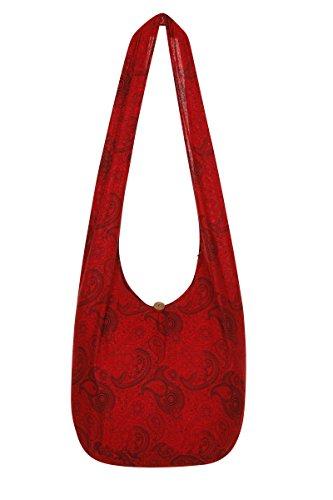ThaiUK Damen Hippie-Tasche mit Schulterriemen, Boho-Stil, 100 % Baumwolle paisley red