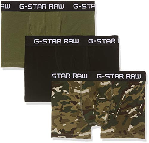 G-STAR RAW Herren Classic Trunk 3 Pack Ao Badehose, Mehrfarbig (Khaki Sage/Dk Black A411), X-Small Dk Khaki