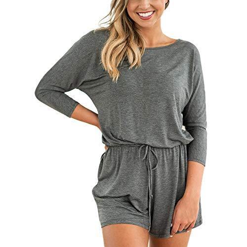 Preisvergleich Produktbild Subfamily Frauen Langarm Latzhose Lose Lace Up Baumwolle Shorts Playsuit Overall Hose Frauen Einfarbig Langarm Overall