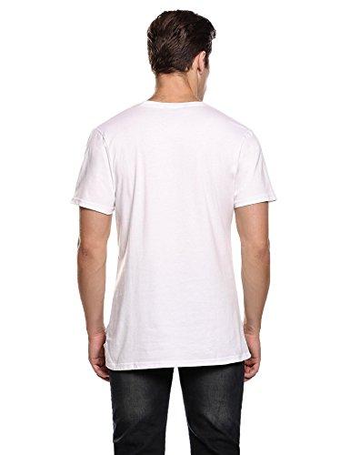Coofandy Herren Shirts Party Outfit Netz Strings Spinne T-Shirt C-Weiß