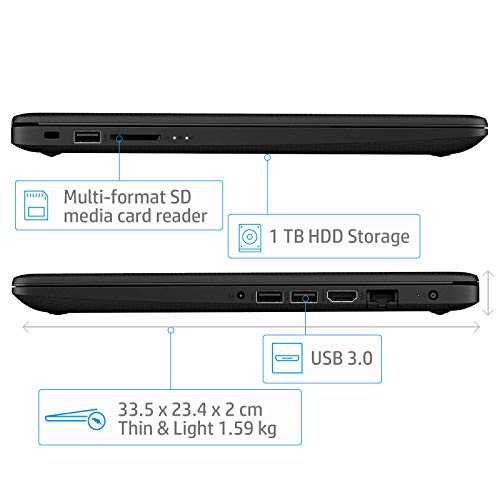 HP 14Q-CS0009TU Laptop (DOS, 4GB RAM, 1000GB HDD, Intel Core i7, Jet Black, 14.0 inch)