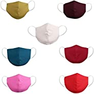 DFR Unisex Washable And Reusable Three Layered 100% Cotton Fabric High Nose Design Face Masks (Multi Color)