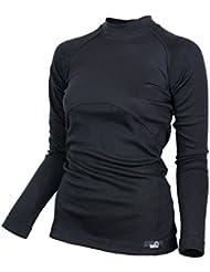 Raptor Hunting Solutions Mérinos Thermiques Dames Sous-vêtements Haut Chemise à Manches Longues Noir
