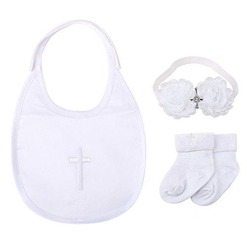 DELEBAO Baby Taufe Lätzchen Taufe Socken Weiß Stirnband Satz Baby Jungen Mädchen Besticktes Kreuz Tauflätzchen Taufsocken (3-teilig (Lätzchen, Stirnbänder, Jungensocken))