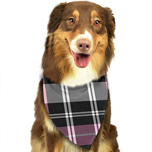 Rghkjlp Black and Pink Plaid Pet Dog Bandanas Triangle Bib Scarf Accessories for Dogs, Cats, Pets Animals
