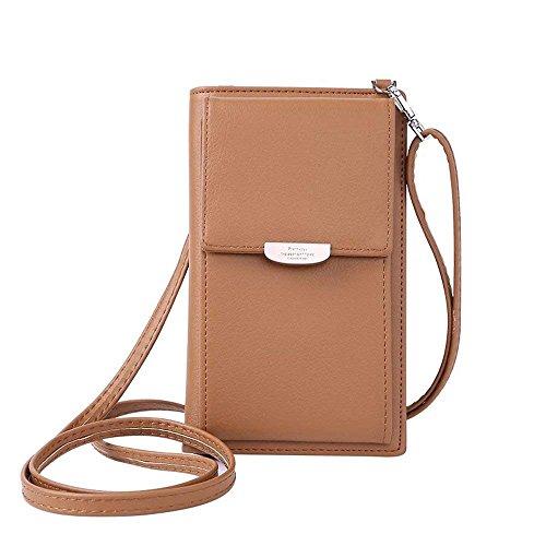 HMILYDYK Frauen Brieftasche Cross-Body Tasche Leder Geldbörse Handy Mini-Tasche Kartenhalter Schulter Brieftasche Tasche, Brown - Tasche Brieftasche