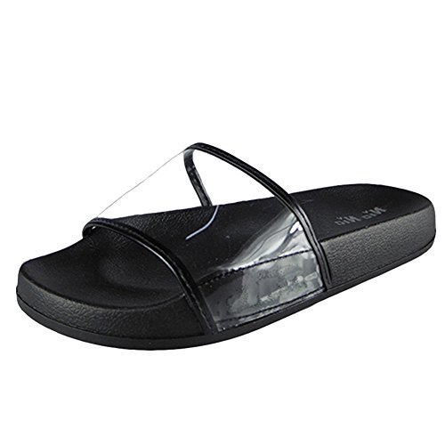 Donna Piatto In gomma Pantofole Scarpe Dimensioni 36-41 Nero