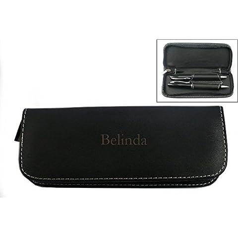 Set de pluma en estuche de cuero artificial con nombre grabado: Belinda (nombre de pila/apellido/apodo)