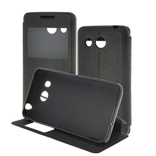 Ascend G525 Case,MEIRISHUN Flip aus Kunstleder mit Sichtfenster [View Fenster] Wallet Case Cover Hülle mit Ständer Schutzhülle mit Standfunktion für Huawei Ascend G525 - schwarz