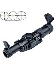 Rifle Scope 1-6X24 rouge et vert verre dépoli Mil Dot long dégagement oculaire Riflescope long dégagement oculaire avec One Piece Offset Mont