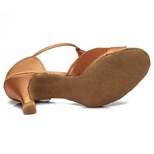 HROYL pour l'femme Chaussons de danse/Chaussons de danse latine en satin F7-259 7CM marron