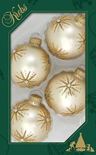 Krebs Glas Lauscha - 4 Weihnachtskugeln mit eleganten Sternen in Mattgold, Größe 7 cm