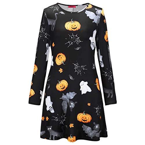 Damen Halloween Party Kostüm, Kürbis Schädel Fledermäuse Print Langarm Halloween Damen Kleid (größe : 2XL)