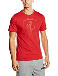 Puma Ferrari Big Shield - Camiseta para hombre, color rosso corsa 02, talla S