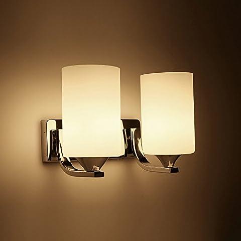 VanMe Lampe Murale À Led Moderne Chambre Salon Couloir Mur De Chevet,Lumière Double Tête 28X20Cm