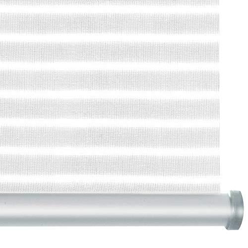 casa pura® Rollo Deluxe Stripe White | Blickdicht & lichtdurchlässig | Klemmrollo für Fenster, auch ohne Bohren anbringbar | mit Metallschiene und -Kette | 9 Größen (80x150cm)