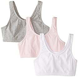 Fruit of the Loom Big Girls Cotton Built-Up Sport 3 Pack, Grey Heather/Bittersweet Pink/White, 28(Pack of 3)