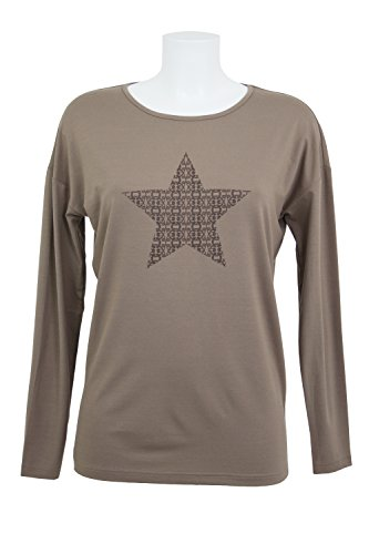 fashion4EVA Oversize-Langarmshirt mit Frontprint - Made in Germany taupe/Stern