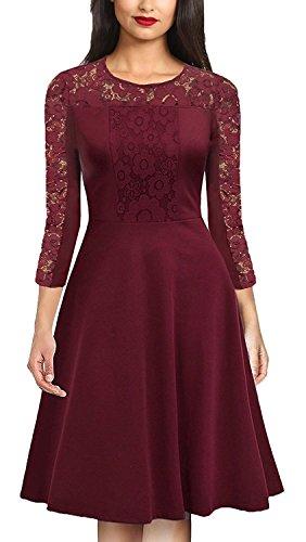 CAISHA Damen A-Linie Kleid Gr. Small, burgunderfarben