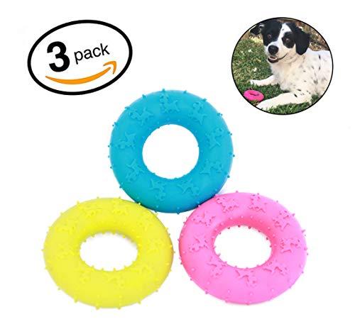 Mahonés Lifestyle - Pack de 3 Juguetes para Perros (Donuts de Goma) - Ideal para morder y masticar [Recomendado a perros pequeños & cachorros]